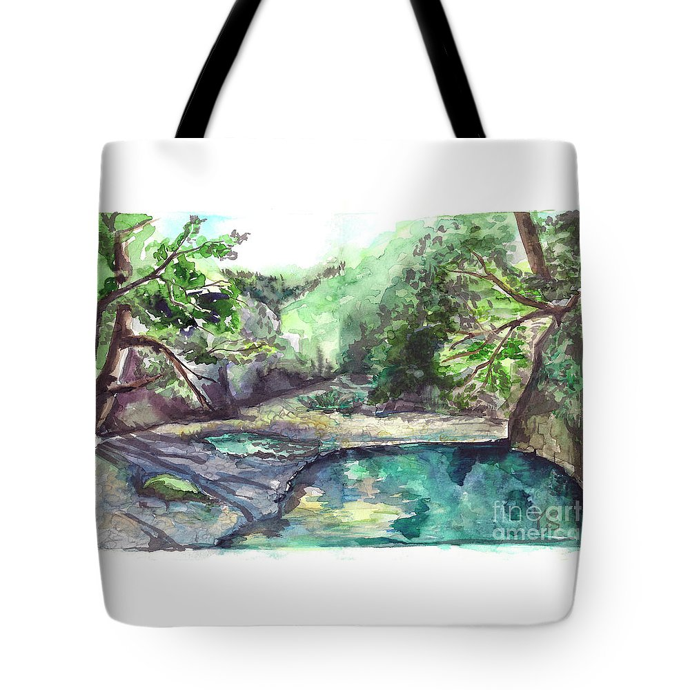Mountain Tote Bag featuring the painting Mountain River by Yana Sadykova