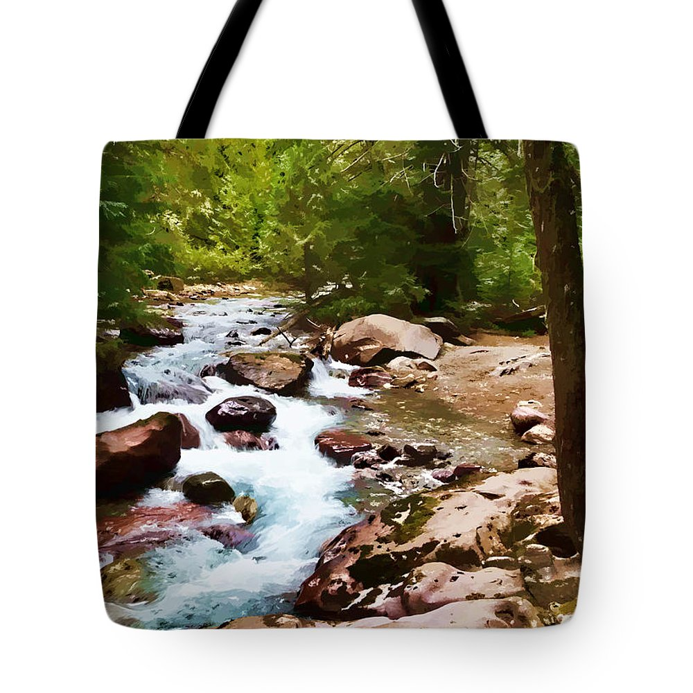 Glacier Tote Bag featuring the photograph Mountain Stream by Dan Dooley