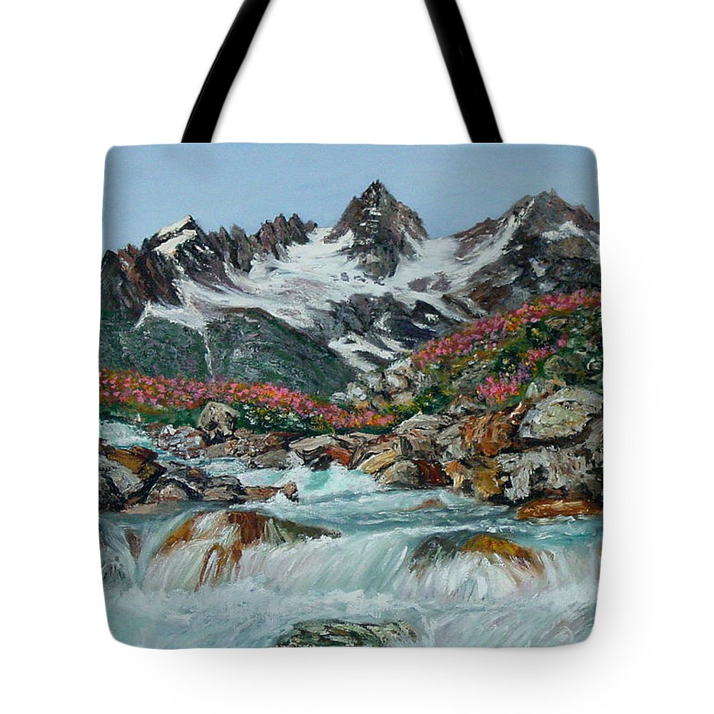 Mountain Tote Bag featuring the painting Mountain Stream by Quwatha Valentine