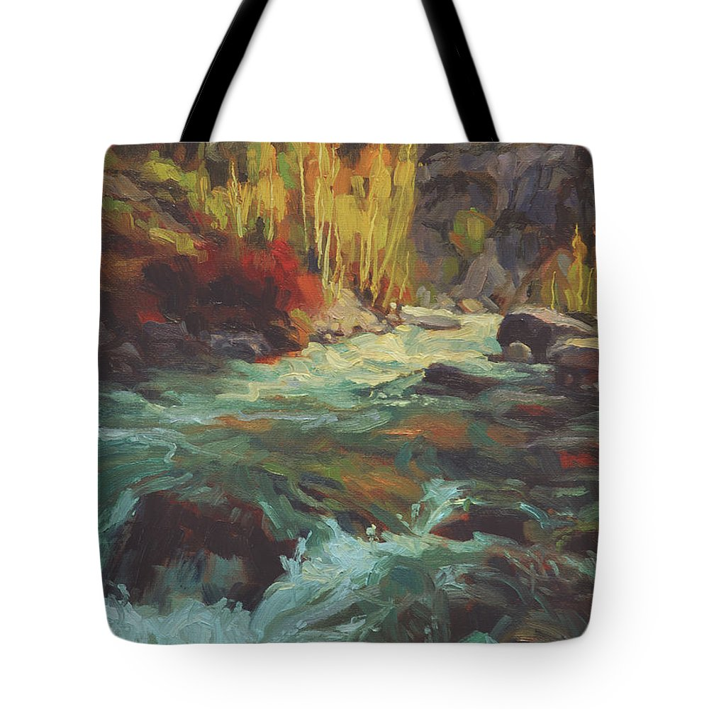 River Tote Bag featuring the painting Mountain Stream by Steve Henderson