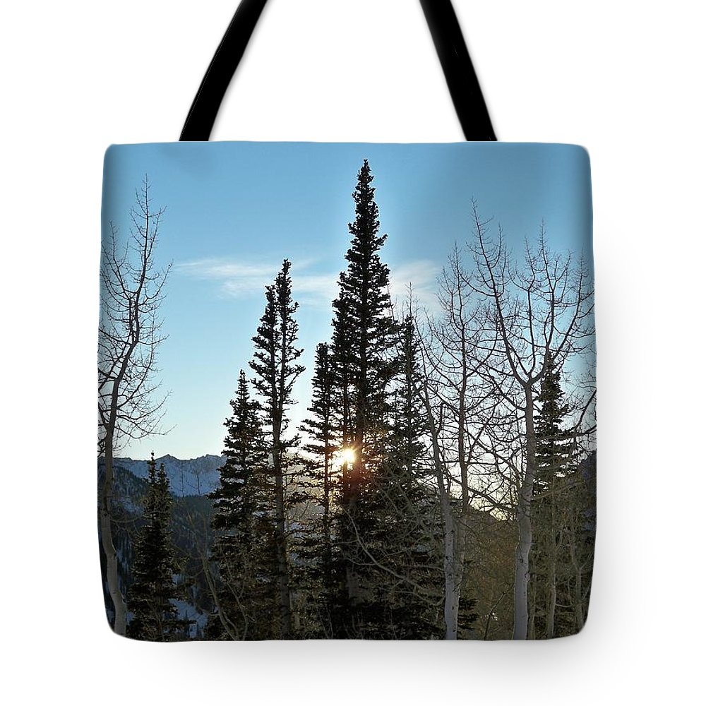 Rural Tote Bag featuring the photograph Mountain Sunset by Michael Cuozzo