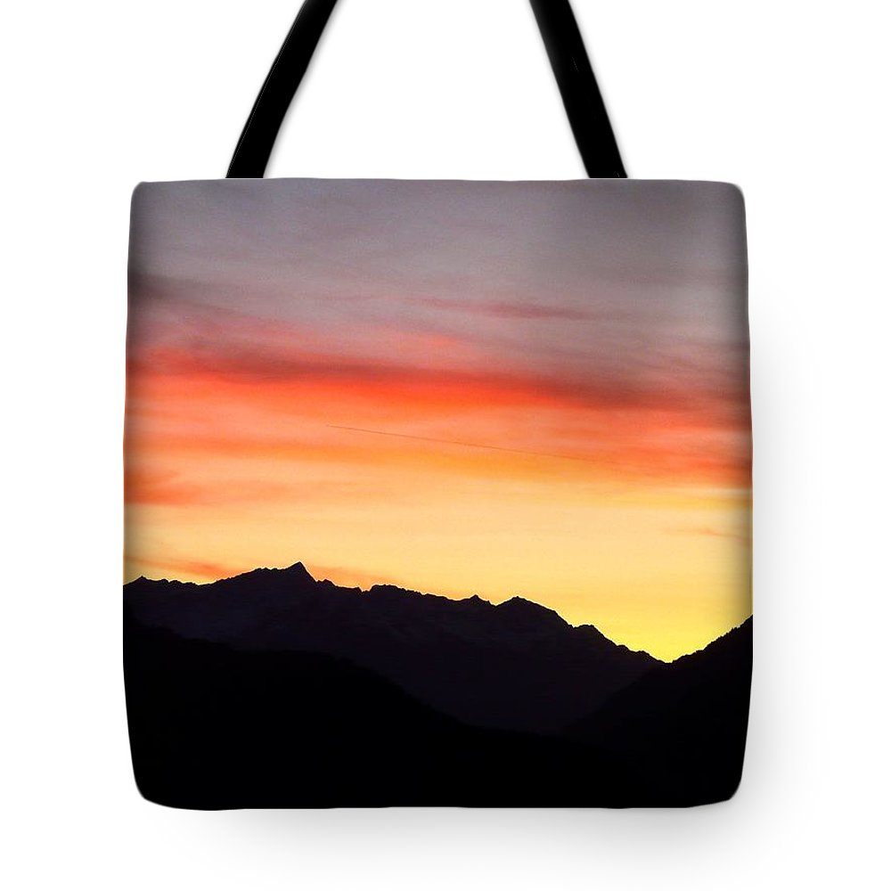 Mountain Tote Bag featuring the photograph Mountain Sunset by Valerie Ornstein
