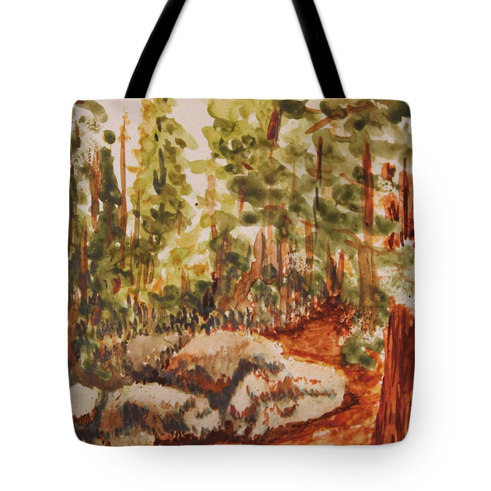 Watercolor Tote Bag featuring the painting Mountain Trail by Ann Sokolovich