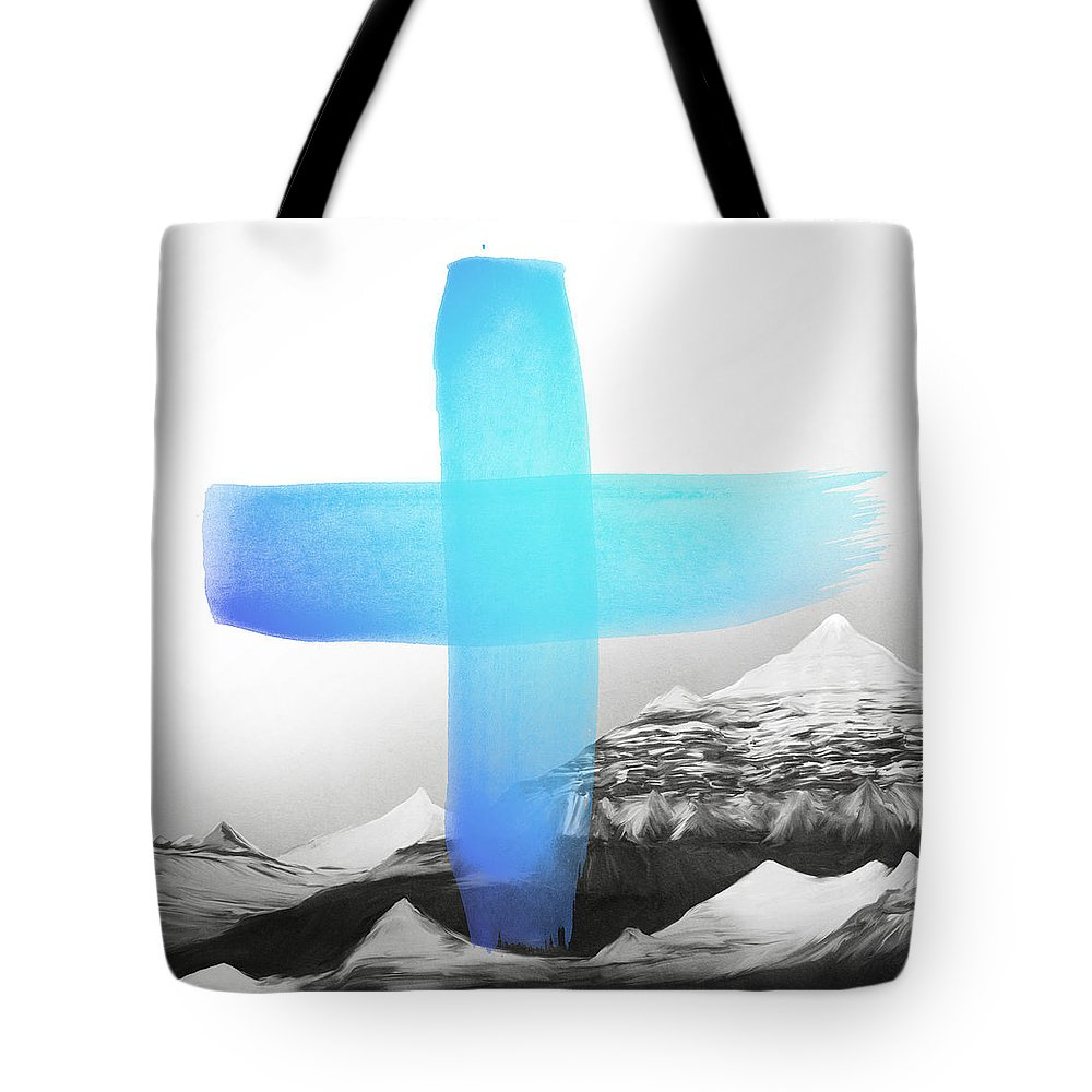 Mountains Tote Bag featuring the painting Mountains by Amy Hamilton