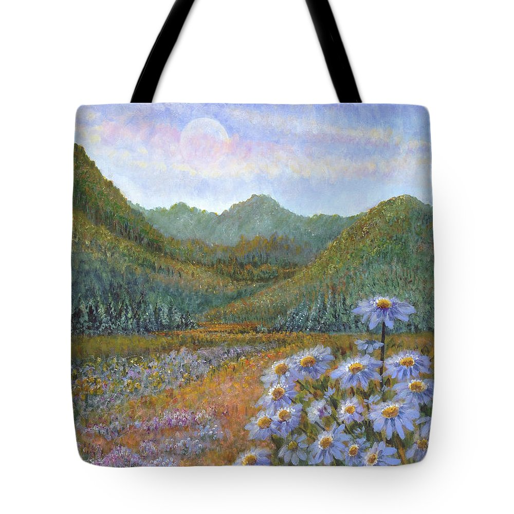 Mountains And Asters Tote Bag featuring the painting Mountains And Asters by Holly Carmichael