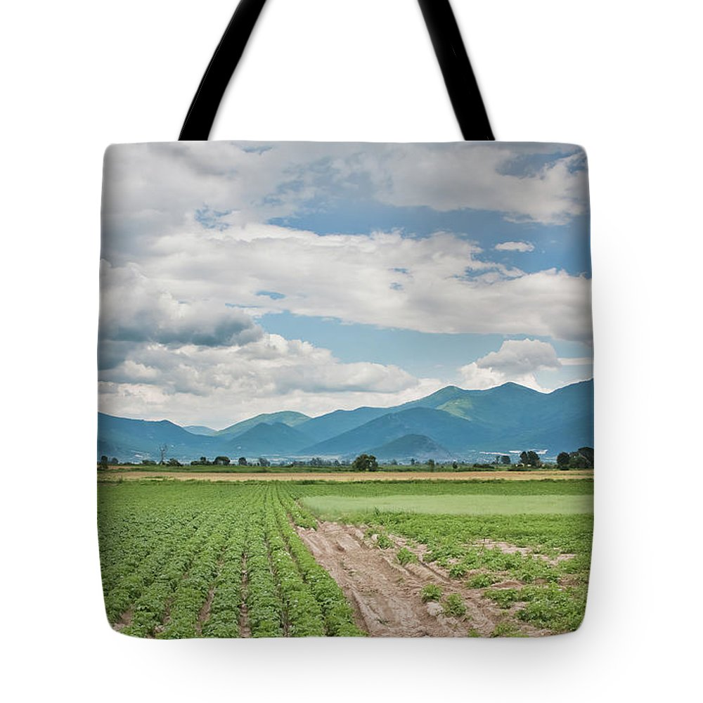 Cumulus Tote Bag featuring the photograph Mountains And Fields by Kamen Ruskov