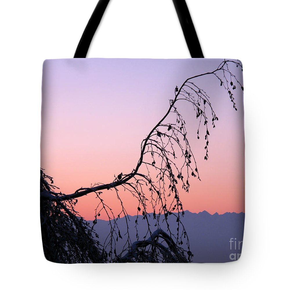 Horizontal Tote Bag featuring the photograph Mountains At Dusk by Stefania Levi