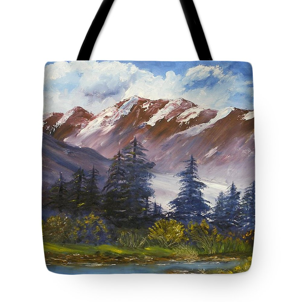Oil Painting Tote Bag featuring the painting Mountains I by Lessandra Grimley