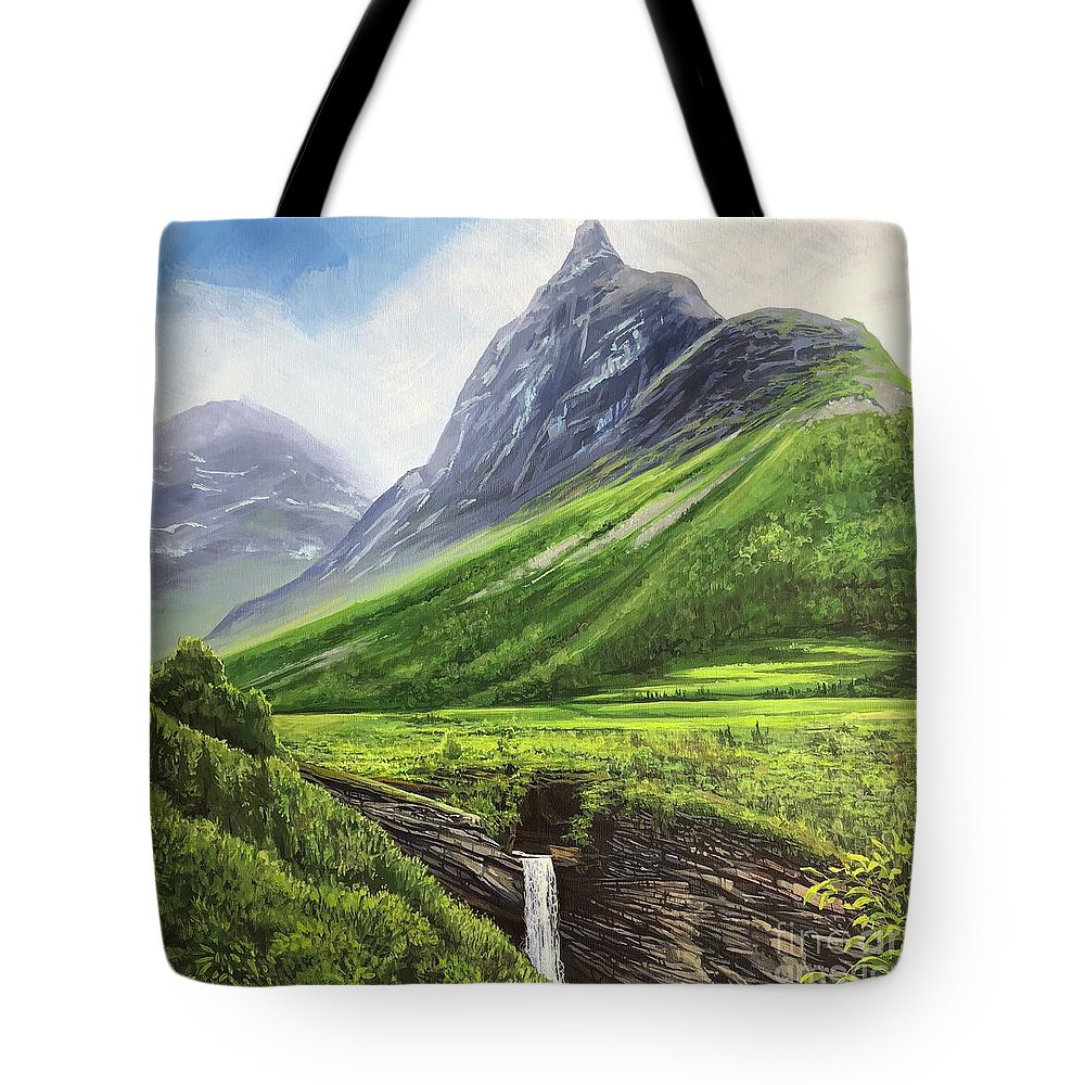 Norway Tote Bag featuring the painting Mountains of Time by Hunter Jay