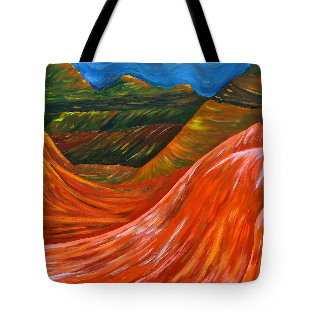 Mountains Original Acrylic Painting On Canvas Tote Bag