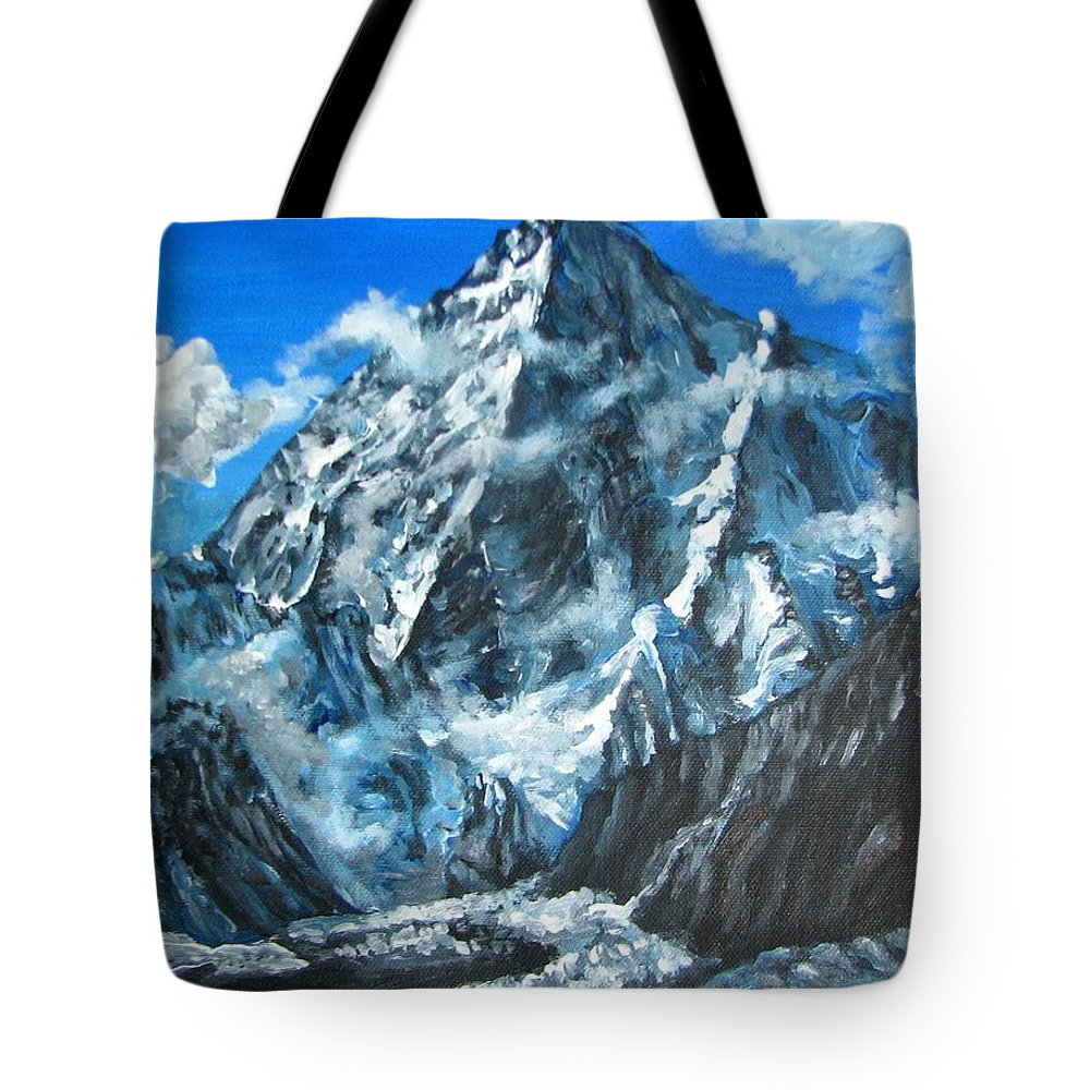 Mountains Tote Bag featuring the painting Mountains View Landscape Acrylic Painting by Natalja Picugina