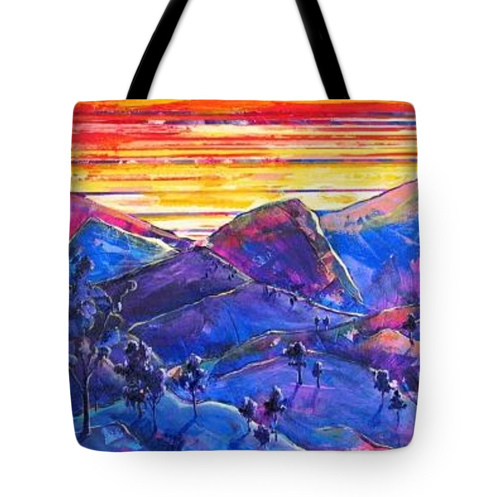 Mountains Tote Bag featuring the painting Mountainscape Blue by Rollin Kocsis