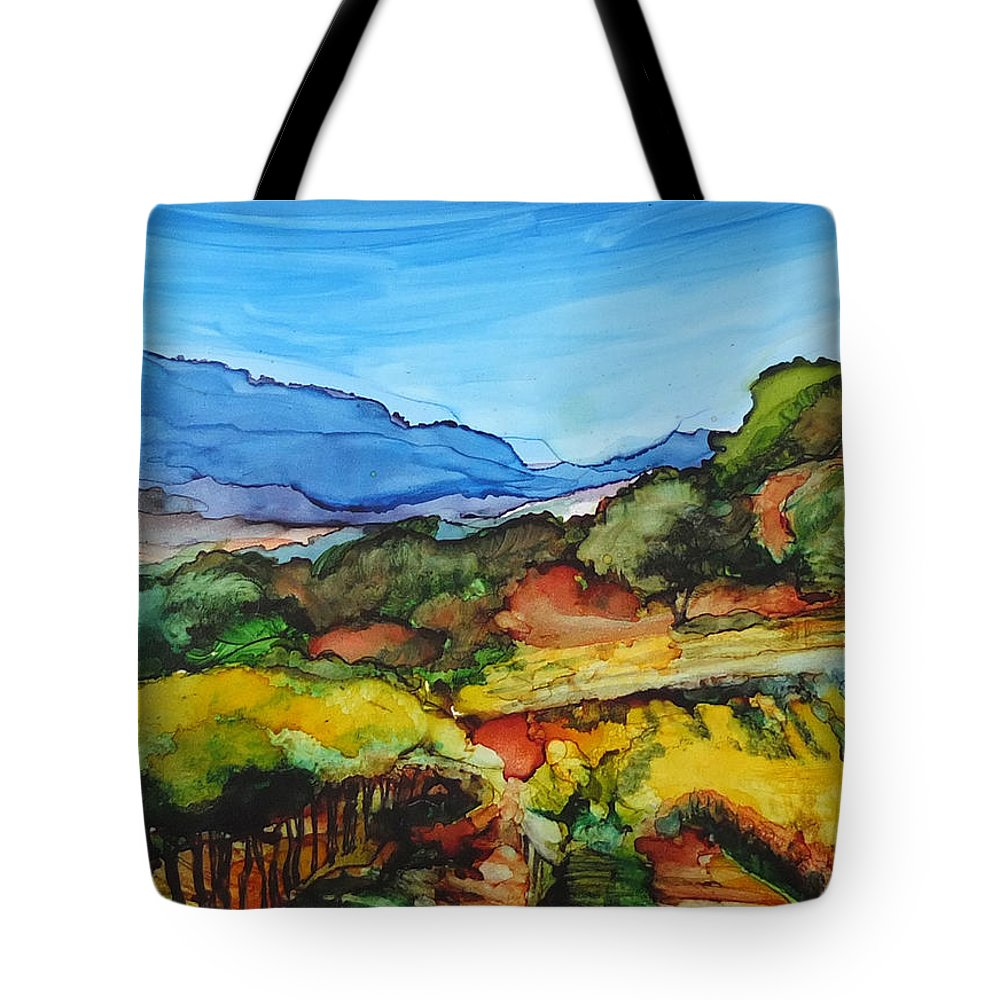 Landscape Tote Bag featuring the painting Mountainside Vineyard by Diane Bay