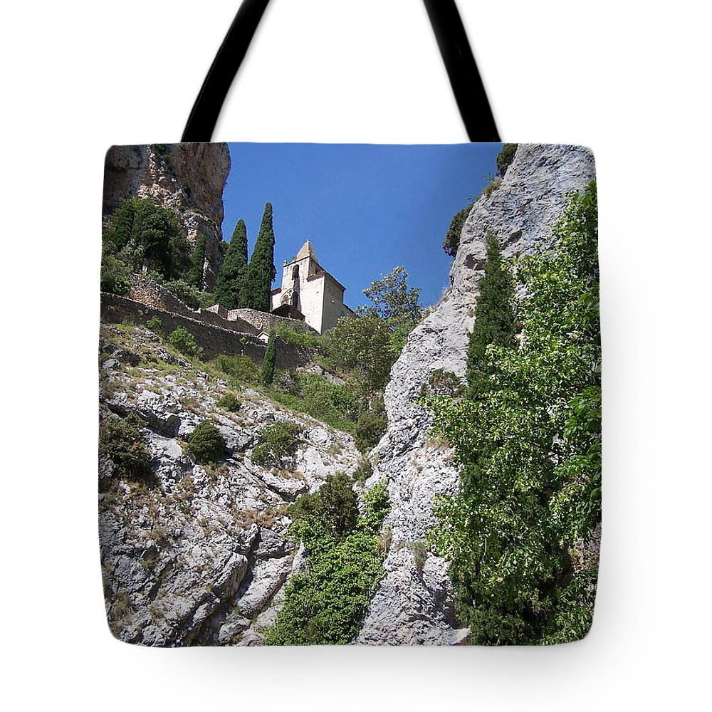 Church Tote Bag featuring the photograph Moustier St. Marie Church by Nadine Rippelmeyer