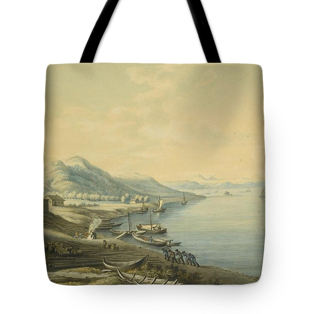 Attributed To Andrey Yefimovich Martynov (st. Petersburg 1768 - Rome 1826) The Port Of Nikola At The Mouth Of The River Angara & View Of Irkutsk 2 Tote Bag featuring the painting Mouth Of The River Angara by MotionAge Designs