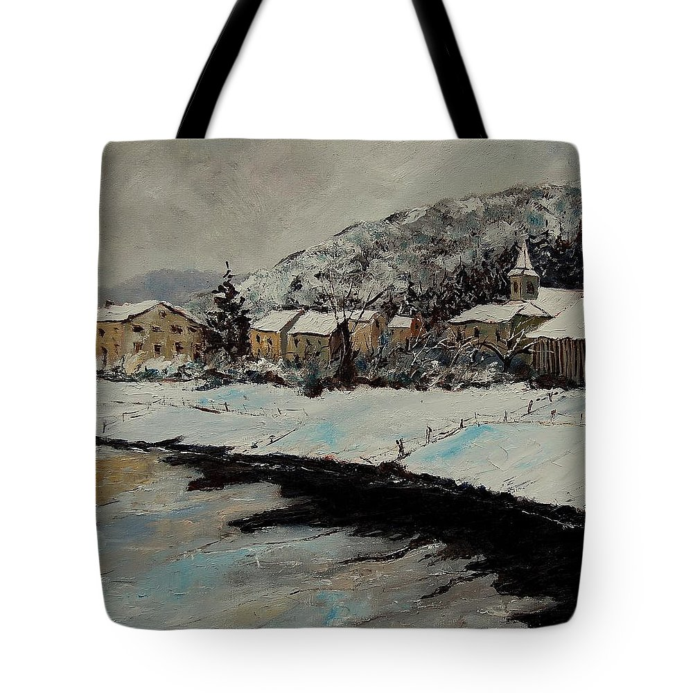 Landscape Tote Bag featuring the painting Mouzaive by Pol Ledent