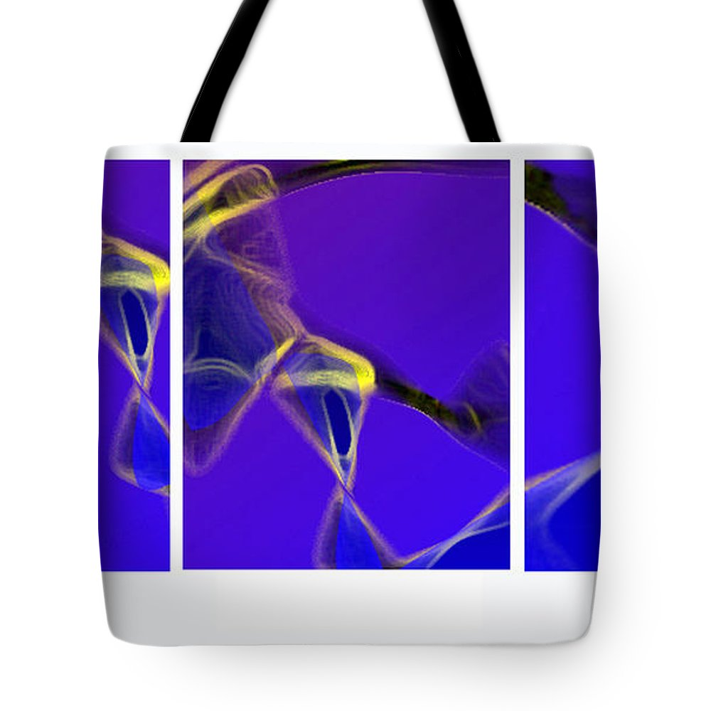 Abstract Tote Bag featuring the digital art Movement In Blue by Steve Karol