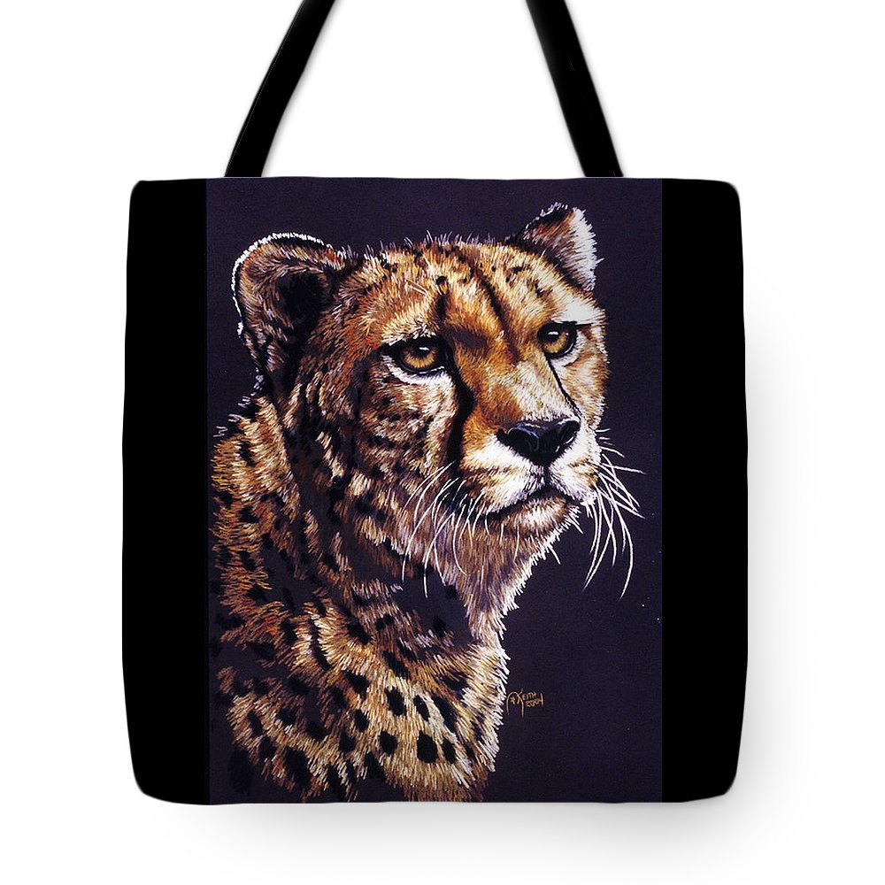 Cheetah Tote Bag featuring the drawing Movin On by Barbara Keith