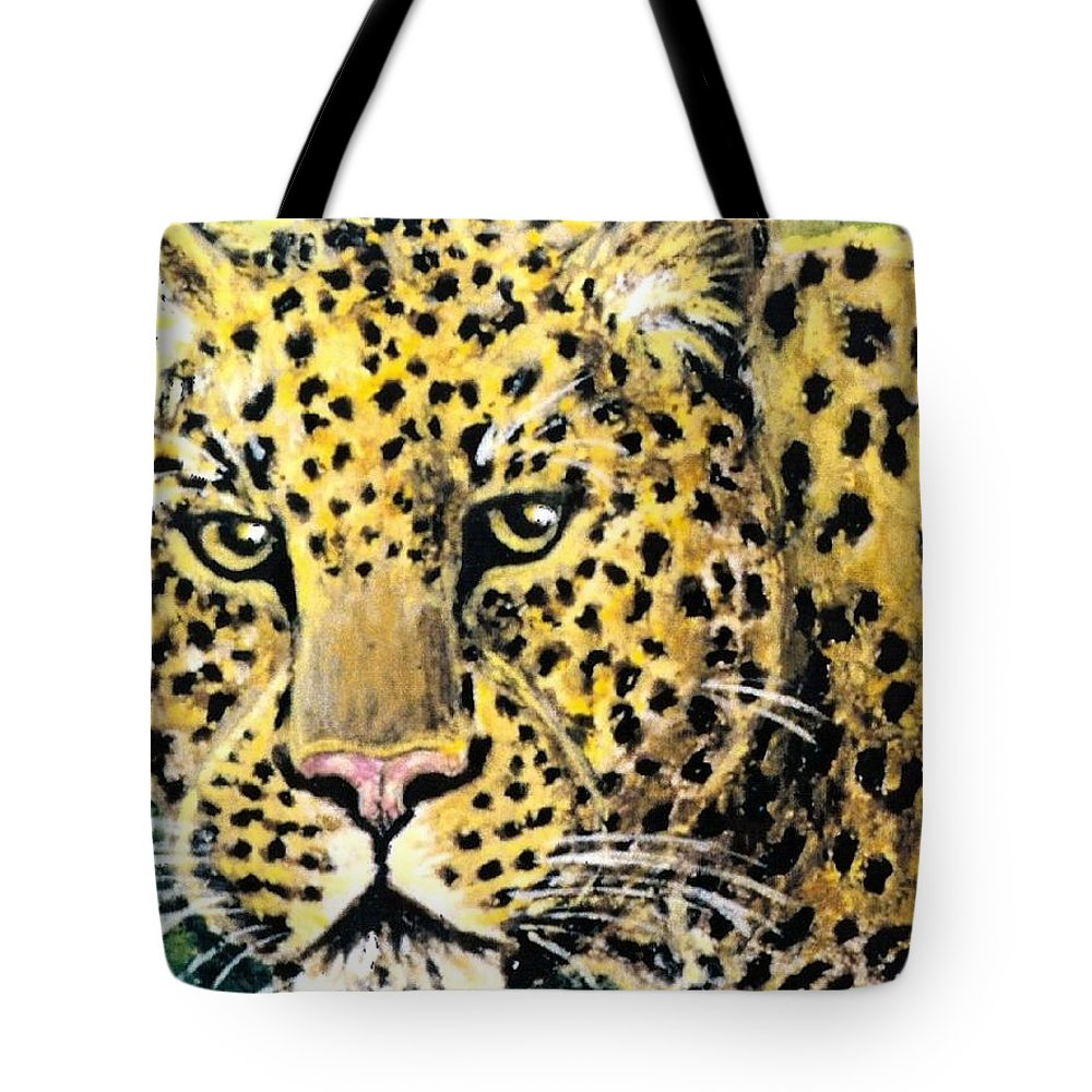 Leopards Tote Bag featuring the pastel Moving Beauty by George I Perez