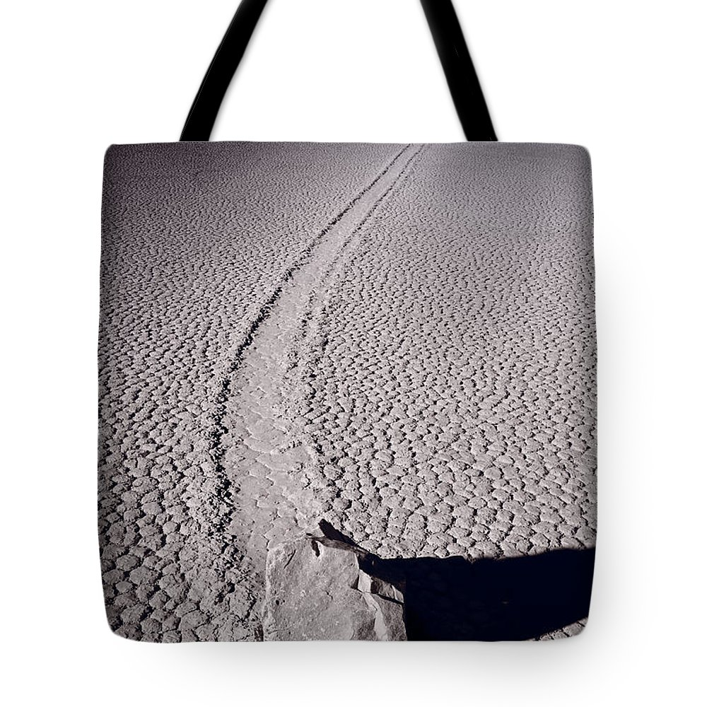 California Tote Bag featuring the photograph Moving Rocks Number 2 Death Valley Bw by Steve Gadomski