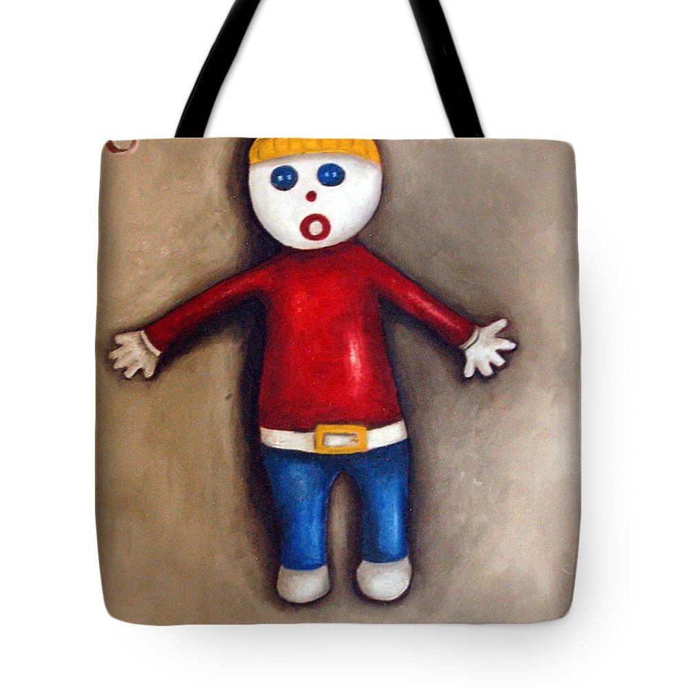 Mr.bill Tote Bag featuring the painting Mr. Bill by Leah Saulnier The Painting Maniac