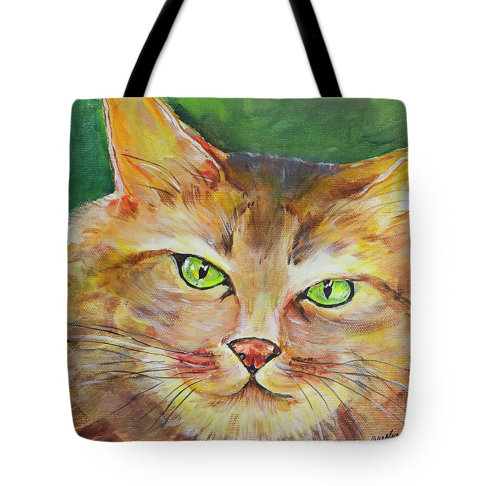 Cat Tote Bag featuring the painting Mr. Cool by Carolyn Bell