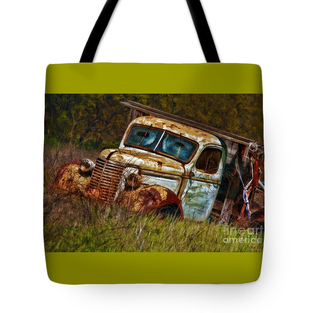 Old Trucks Tote Bag featuring the photograph Mr Greenjeans Truck Ciose Up by Blake Richards