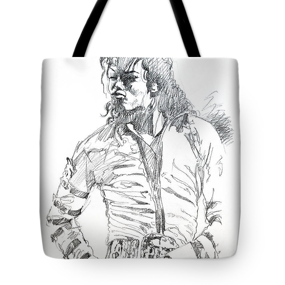 Michael Jackson Tote Bag featuring the drawing Mr. Jackson by David Lloyd Glover