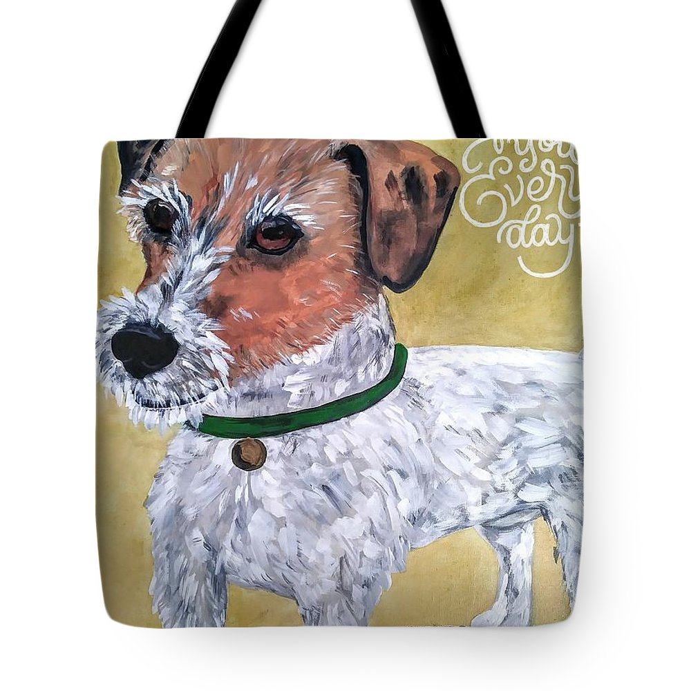 Dogs Tote Bag featuring the painting Mr. R. Terrier by Reina Resto