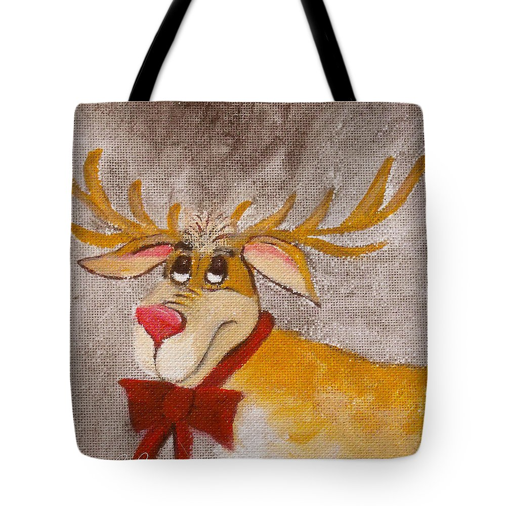 Animals Tote Bag featuring the painting Mr Reindeer by Ruth Palmer