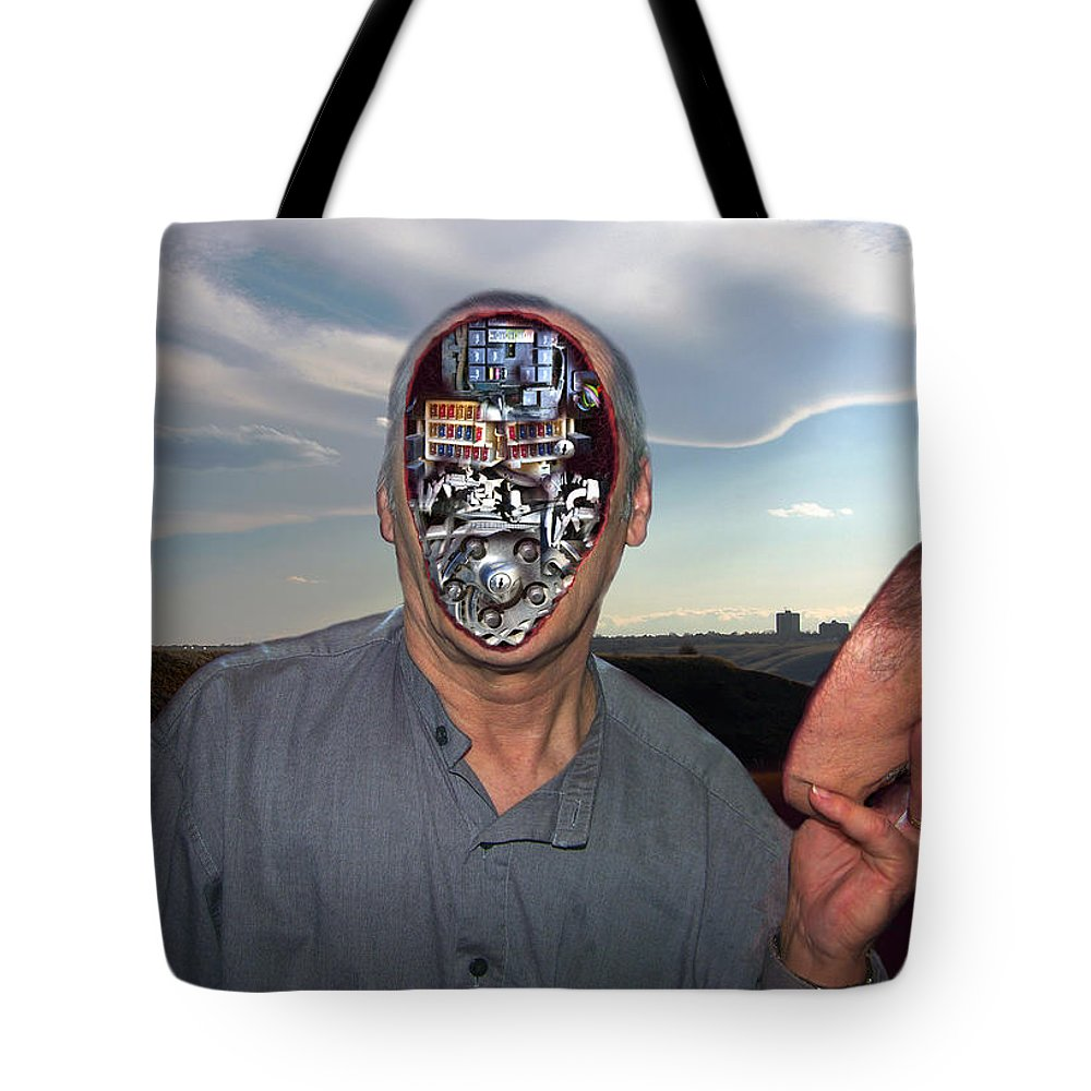 Surrealism Tote Bag featuring the digital art Mr. Robot-otto by Otto Rapp