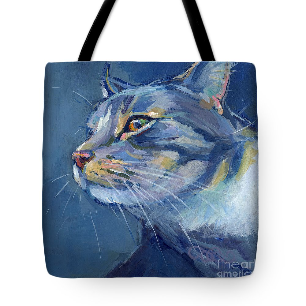 Gray Cat Tote Bag featuring the painting Mr. Waffles by Kimberly Santini