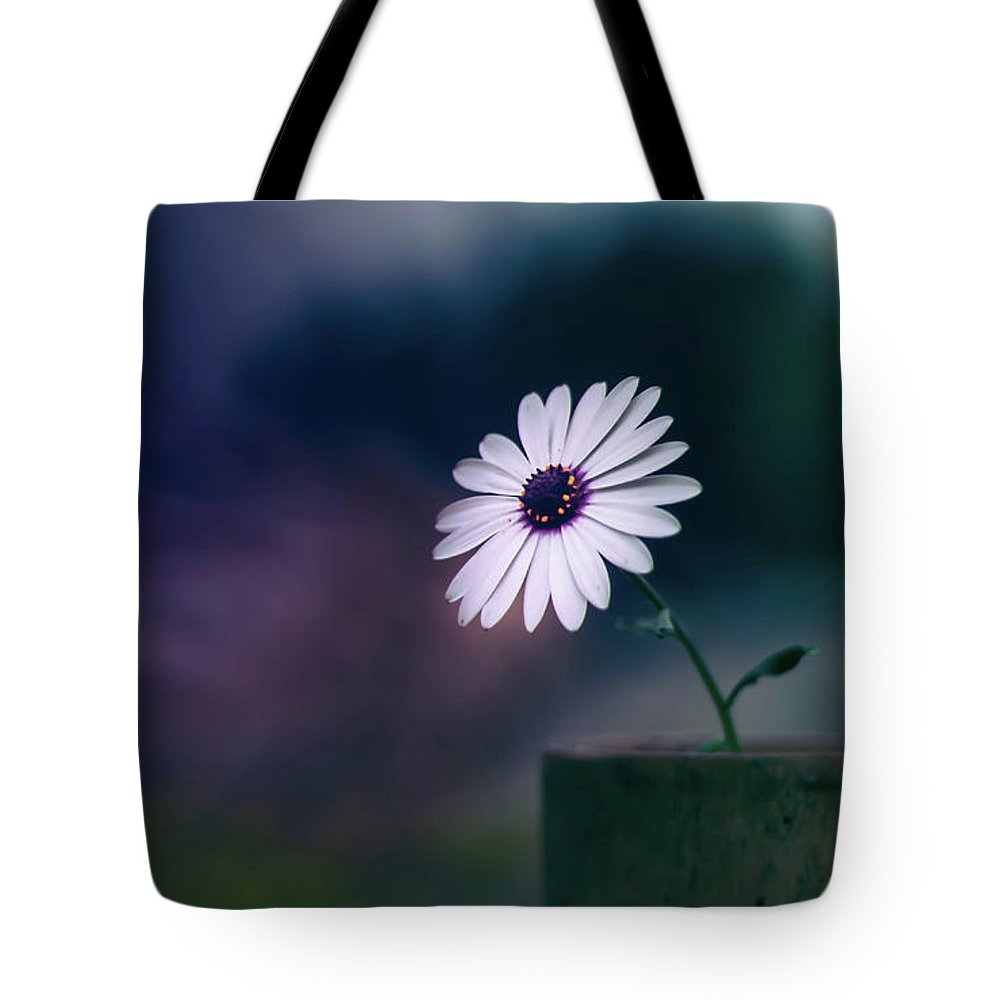 White Flower Tote Bag featuring the pyrography White Flower by Zahid Rasool