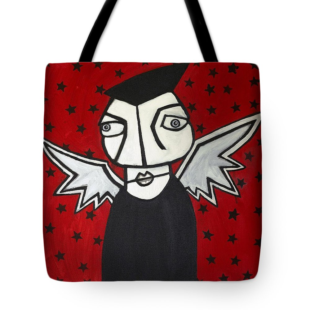 Clay Tote Bag featuring the painting Mr.creepy by Thomas Valentine