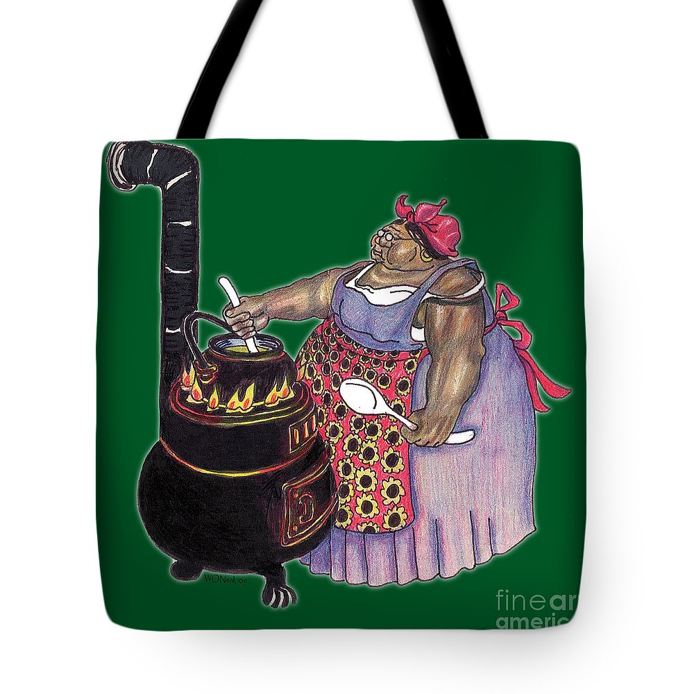 Cooking Tote Bag featuring the drawing Mrs. Brown Preparing Supper by Walter Oliver Neal