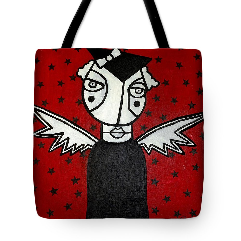 Potrait Tote Bag featuring the painting Mrs.creepy by Thomas Valentine