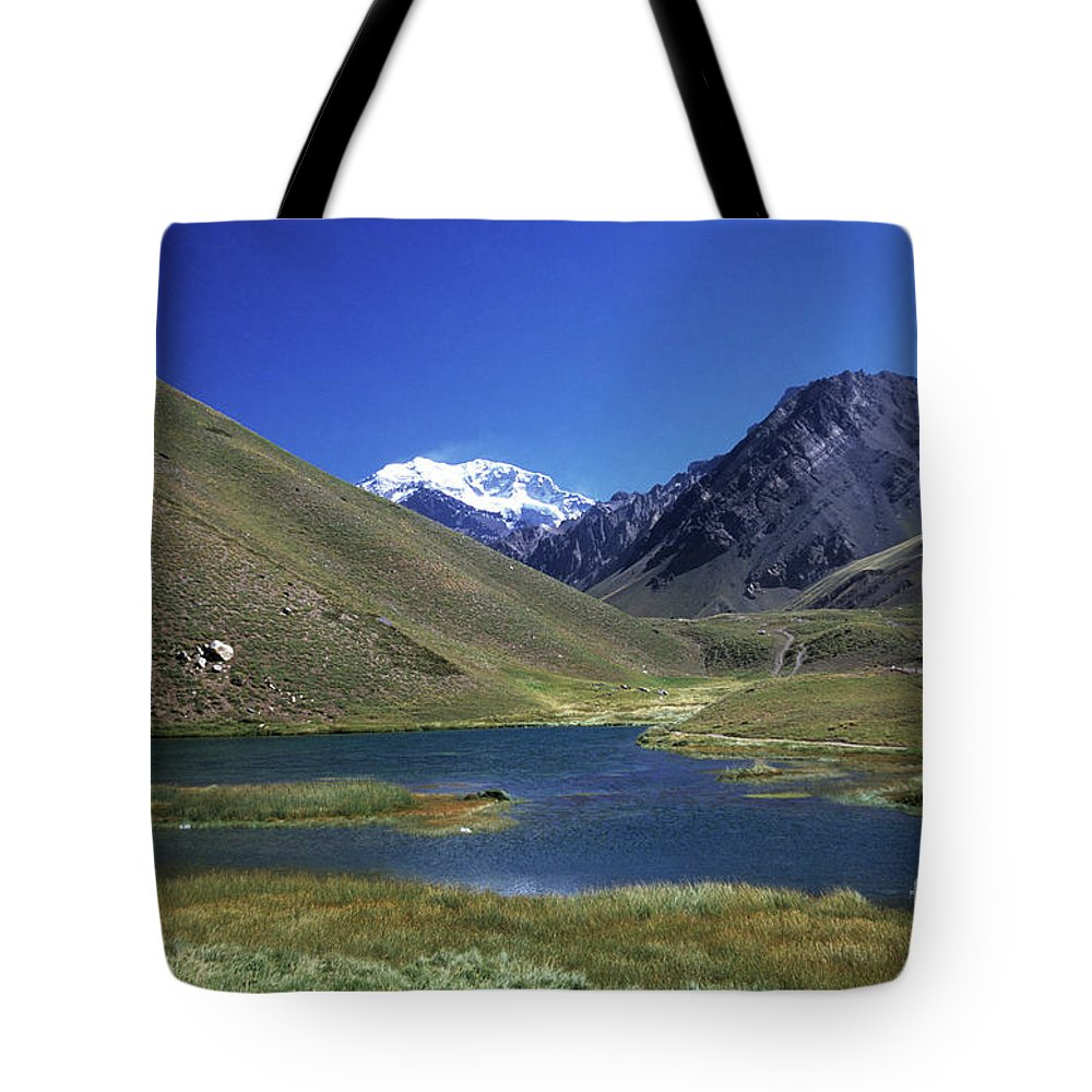 Argentina Tote Bag featuring the photograph Mt Aconcagua And Laguna Horcones by James Brunker