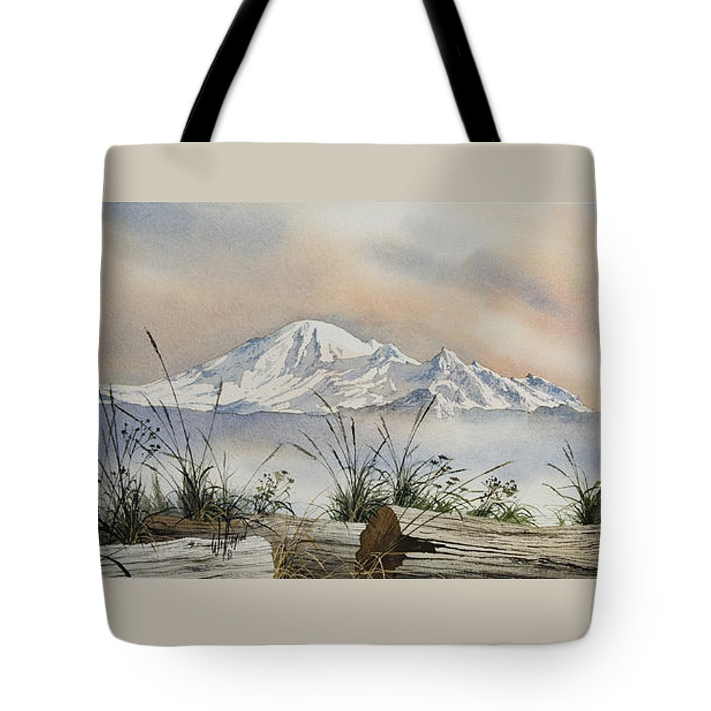 Landscape Fine Art Print Tote Bag featuring the painting Mt. Baker Cascade Coast by James Williamson