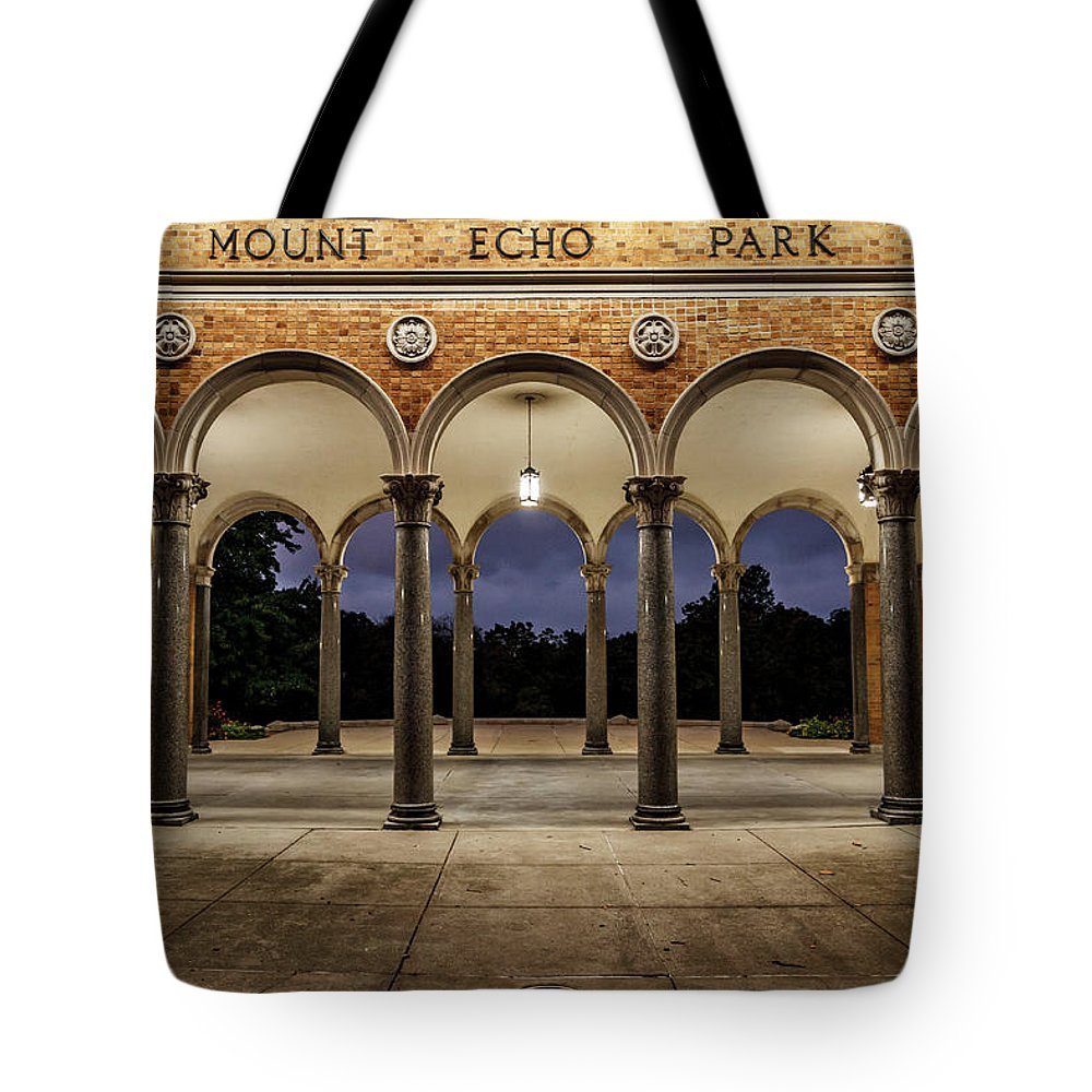 Mt. Echo Tote Bag featuring the photograph Mt Echo Pavilion by Andrew Johnson