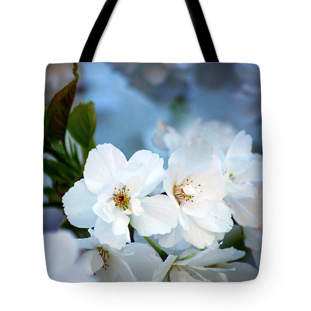 Nature Tote Bag featuring the photograph Mt. Fuji Cherry Blossoms by Emerita Wheeling