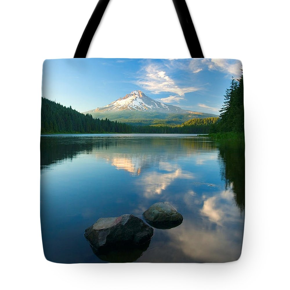 Mt. Hood Tote Bag featuring the photograph Mt. Hood Cirrus Explosion by Mike Dawson