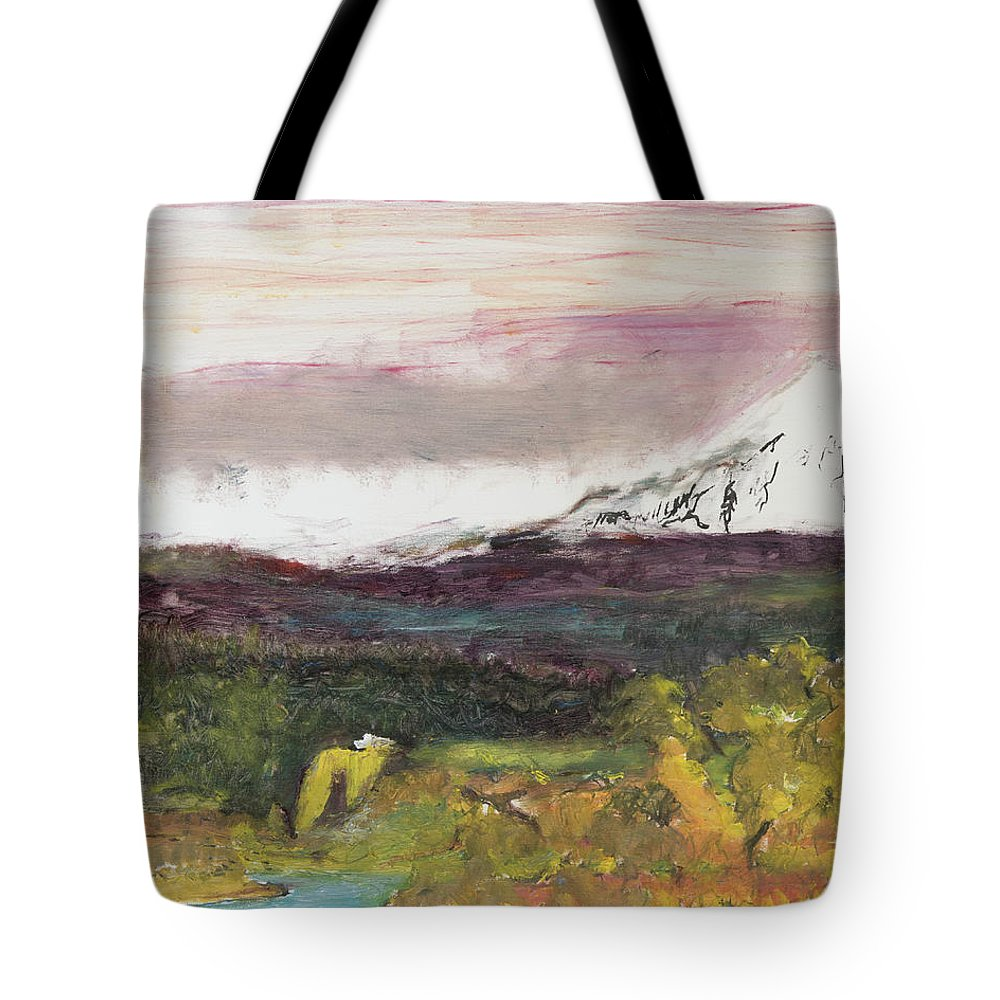 Mt Hood Tote Bag featuring the painting Mt Hood Mirage by Craig Newland