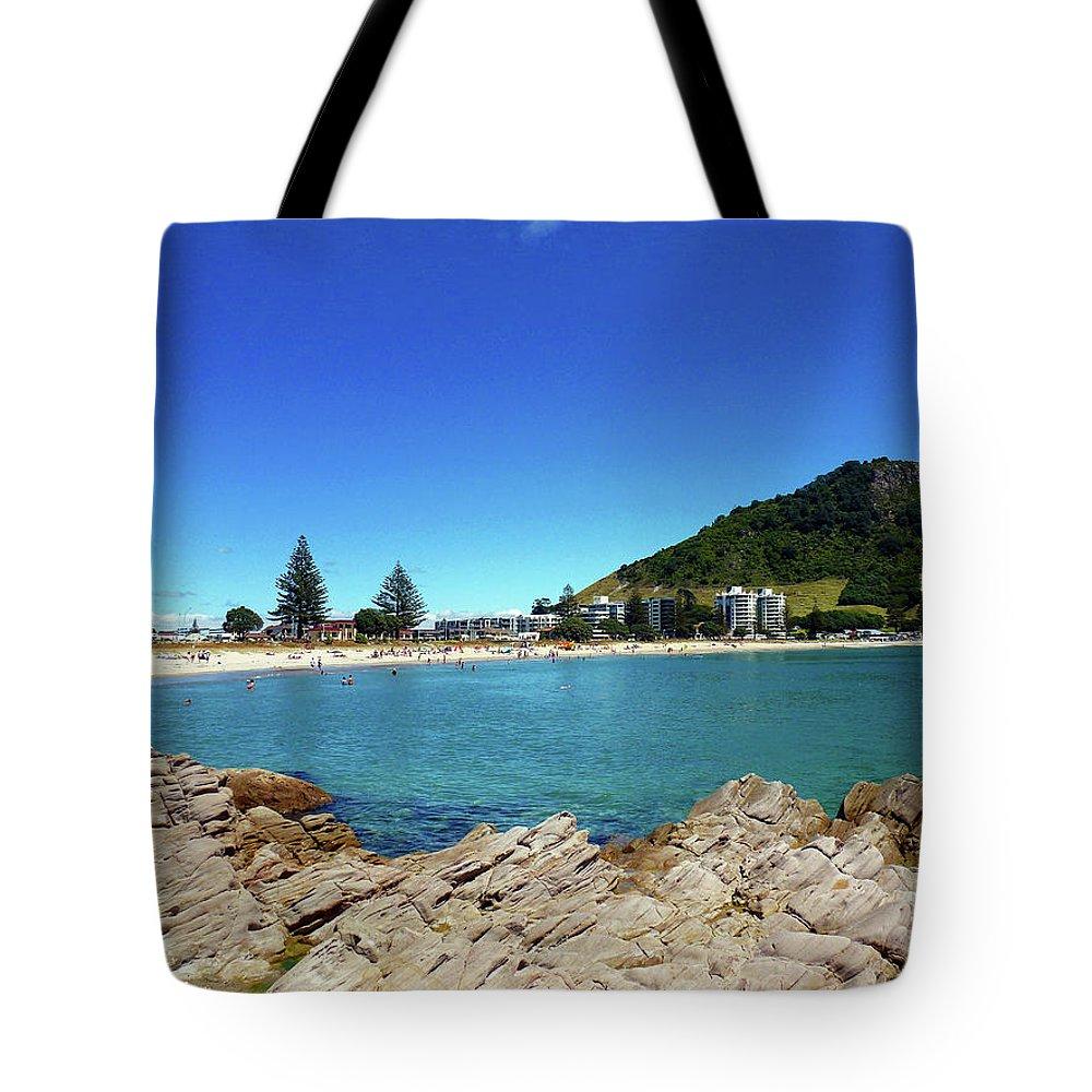 Mt Maunganui Tote Bag featuring the photograph Mt Maunganui Beach 9 - Tauranga New Zealand by Selena Boron