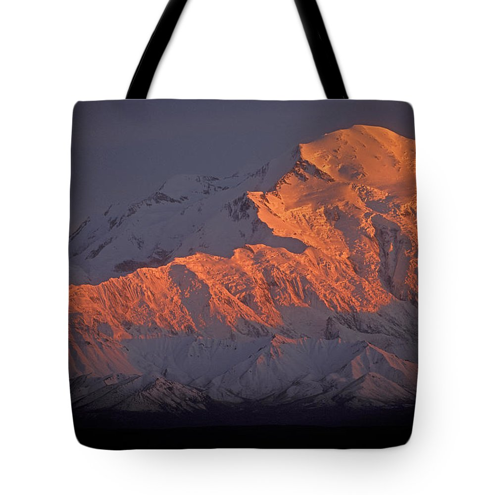 Denali National Park Tote Bag featuring the photograph Mt. Mckinley Sunset by Sandra Bronstein