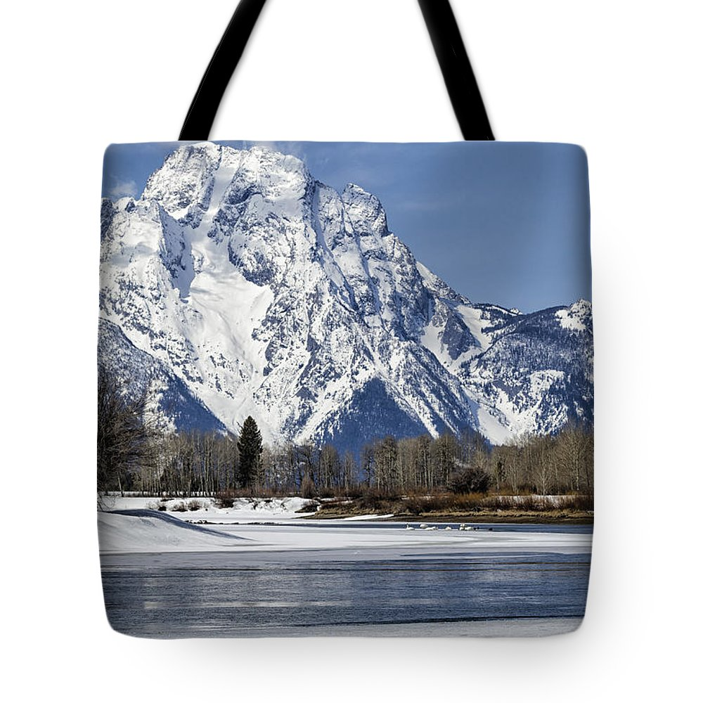 Mt Moran Tote Bag featuring the photograph Mt Moran From Oxbow Bend by Belinda Greb