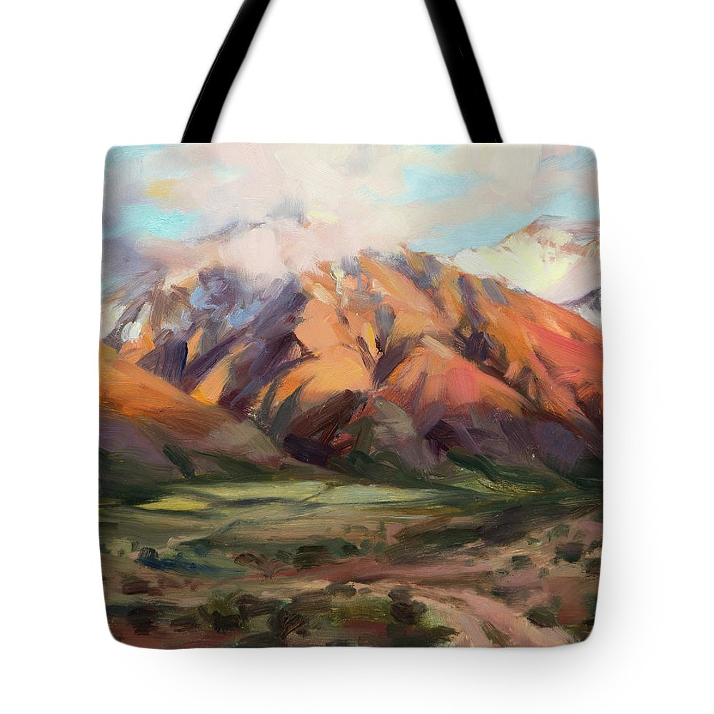 Mountains Clouds Tote Bag featuring the painting Mt Nebo Range by Steve Henderson