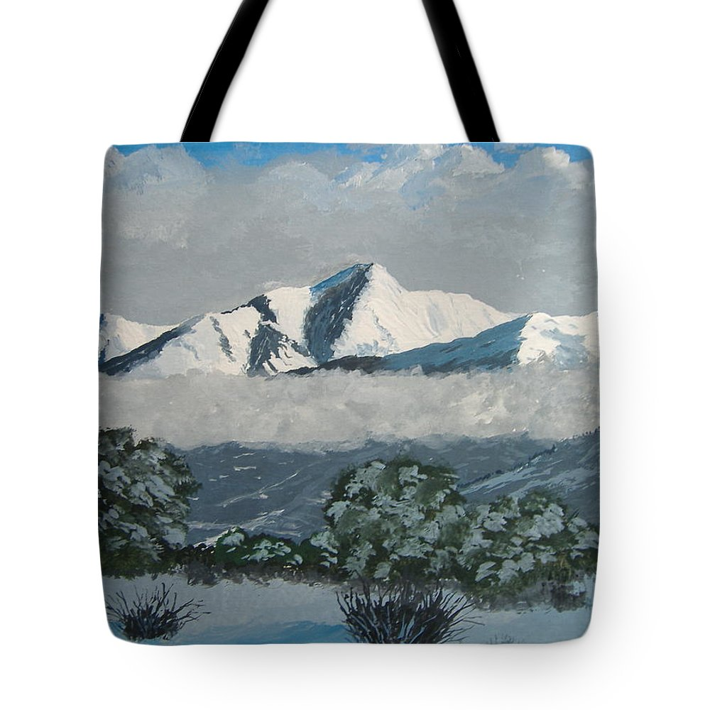 Colorado Tote Bag featuring the painting Mt Princeton Co by Norm Starks