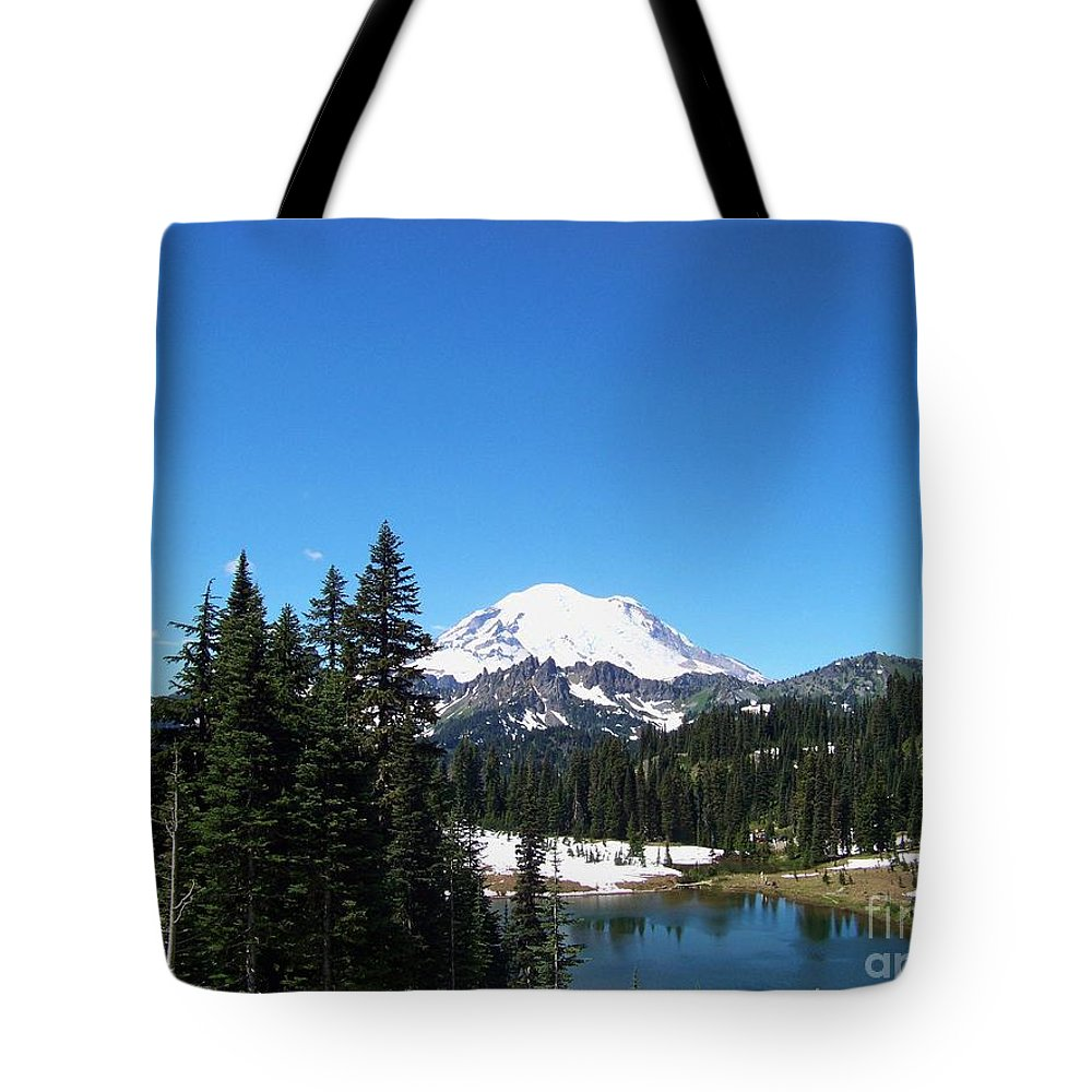 Mt. Rainier Tote Bag featuring the photograph Mt. Rainier And Tipsoo Lake by Charles Robinson