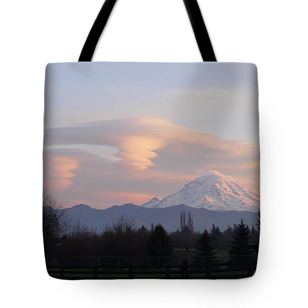 Mountain Tote Bag featuring the photograph Mt Rainier Lenticular Funnels by Shirley Heyn