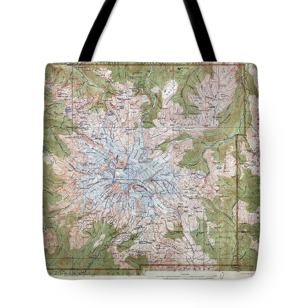 Mt Rainier Topographic Map.Mt Rainier Topographic Map 1915 Tote Bag For Sale By Daniel Hagerman